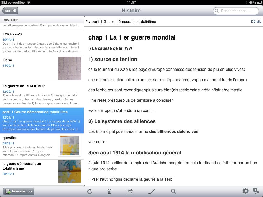 Capture d'écran de prise de notes sur iPad